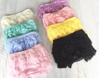 Super Soft Lace Ruffle Bloomes Lace Diaper Cover Lace Bloomer Baby Girl Ruffle Bloomers Frilly Bloomers Baby Ruffle Bloomers Diaper Cover