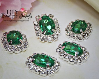 Small Oval Emerald Green Crystal buttons Rhinestone Buttons  Embellishment flatback Bridal Accessories Hair Bow flower centers 20mm 913040