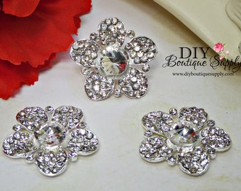 Pretty Flower Rhinestone Buttons FLatbacks Crystal Buttons  flower centers hair bow centers Baby Headband Supplies 28mm 948065