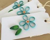 Quilling Paper Turquoise Flower Gift Tags - Set of 3 - Large Quilling Paper Blue Flower Gift Tags