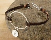 Monogram Bracelet - Karma Bracelet - Sterling Silver Bracelet - Initial Bracelet - Sterling Silver Leather Bracelet - Circle Bracelet