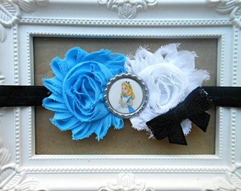 Alice in Wonderland Shabby Chic Headband, Alice in wonderland Birthday, Alice headband, Alice Hairbow, Mad Hatter, Baby girl headband
