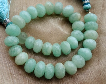 9 to 11 mm Huge Size Natural Opaque Aquamarine Faceted Rondelle full 7 inch strand-AA+