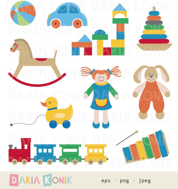 Soft Toys Clip Art : Toys clip art set for children doll wooden blocks