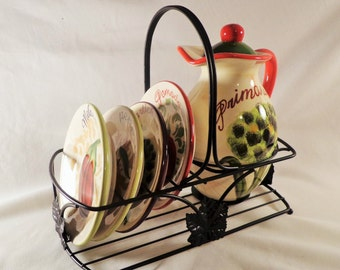 Bread Dipping Oil Decanter, Plates, and Metal Caddy, Jennifer Brinkley