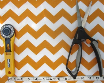 Gold and White Chevron Fabric 1/2 yard