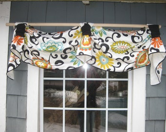 Valance Victory Rod Tab Swag in Waverly Pom Pom Play color Confetti Fabric with Solid Black Cuffs & Piping Contemporary Floral Swirls