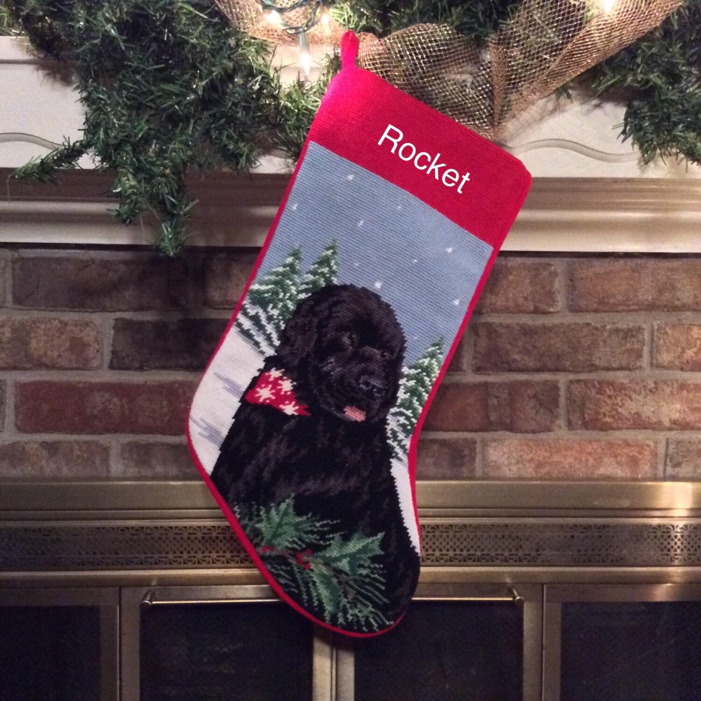 Newfoundland dog stocking personalized christmas stockings for Personalized dog christmas stocking