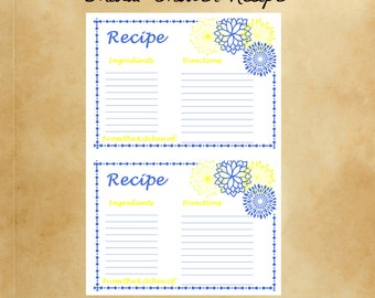 Blue & Yellow Bridal Shower Recipe Cards Kitchen Bridal Shower Recipe Cards Flower Bridal shower Recipe Cards Instant Download