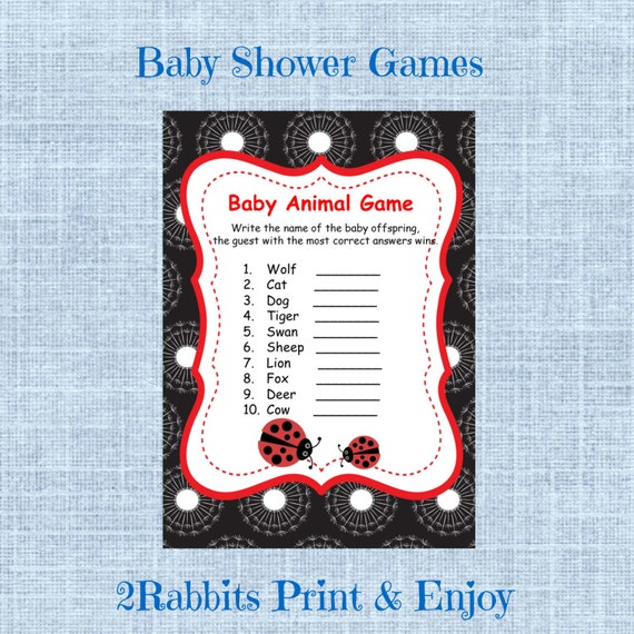 Baby Shower Game Name The Baby Animal: Items Similar To Ladybug Baby Shower Baby Animal Name Game