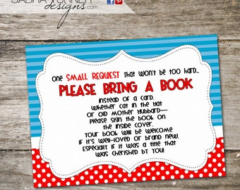 Dr. Seuss Book Request Card. Dr. Seuss Baby Shower. Printable Cards.