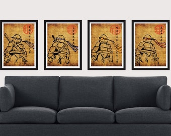 8.5 x 11 TMNT Poster Set - Includes 4 Premium Posters for each of the Teenage Mutant Ninja Turtles