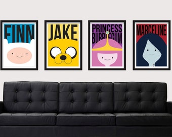 8.5 x 11 Adventure Time Poster Set - Includes 4 Premium Posters for Finn, Jake, Princess Bubblegum, and Marceline