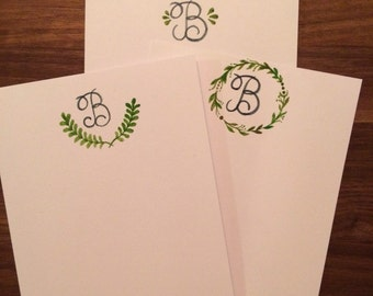 Handpainted notecards - personalized notecards - stationary - handwritten mail - notecards with initial - stationary with greenery