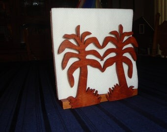 Palm tree napkin holder, wood