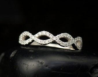 Fiona - Diamond Wedding Band in White Gold, Round Brilliant Cut Diamonds, Pave Set, Twist Design, Modern, Free Shipping