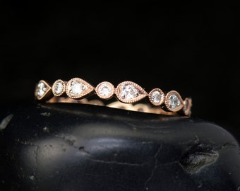 Lucy - Diamond Eternity Band in Rose Gold, Round Brilliant Cut, Pear and Bubble Design with Beaded Milgrain, Wedding Band, Free Shipping