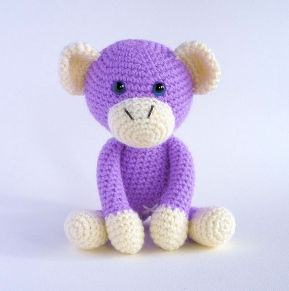 Amigurumi Monkey Etsy : Amigurumi Monkey Purple Monkey Cute Crochet by MWHandicrafts