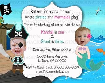 Pirate and Mermaid Birthday Invitation-DIGITAL