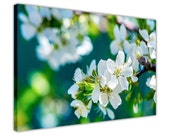 White Blossom Spring Flowers Framed Canvas Art Prints Home Decoration Poster Framed Images Wall Art Pictures