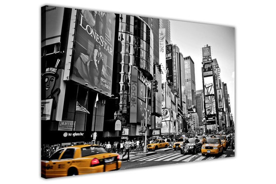 Black and white print of Times Square with all New York taxis shown in yellow