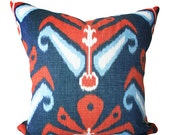 John Robshaw For Duralee Ikat American Throw Pillow Cover - Decorative Pillow - Both Sides - 12x18, 12x20, 14x24, 18x18, 20x20, 22x22