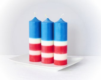 American flag candles, ecofriendly pillar candles, patriotic candles, home décor, holidays gift, unscented candles
