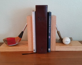 Vintage Golf Club Bookends, Bookends, Vintage Sports Decor, Golf Decor