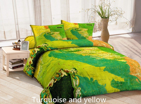 turquoise and yellow map bedding set map duvet cover map bed linen with two matching map pillow. Black Bedroom Furniture Sets. Home Design Ideas