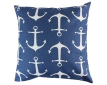 Navy Blue Anchor Decorative Throw Pillow Covers Nautical Accent Pillows Couch Pillow Covers Zippered Pillow Sofa Pillow Covers Toss Pillows