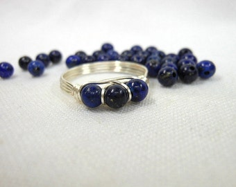 Lapis Lazuli .925 Sterling Silver Wire Wrapped Ring