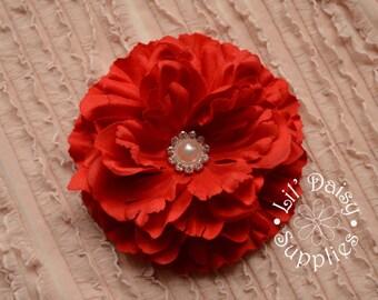"1 Red Fabric Silk Peony Flower 4.25"", Wholesale Flowers, Wedding Flower, Large Flower, Headband Flower, DIY Flower, Hair Flower"