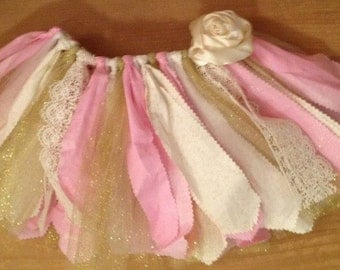 Light Pink, Ivory, and Gold Scrap Fabric Tutu