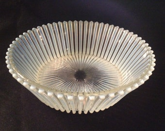 Vintage Art Deco Hand Blown Opalescent Milk Glass Ribbed Bowl