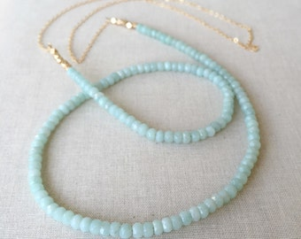 Amazonite Gemstone Necklace ~ Long 14k Gold Filled Faceted Aqua Blue Gemstone Necklace ~ Minimal Everyday Layering Strand