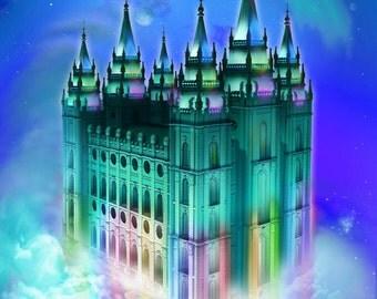 Salt Lake Mormon Temple: Rainbow Lit!