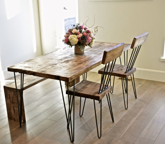 Solid Maple Hairpin Dining Table With Chairs And By TheWhiteShanty