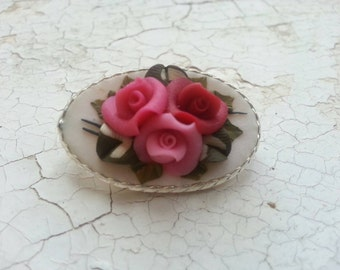 Beautiful vintage ceramic floral pink, red and white rose brooch