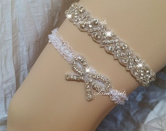 Wedding garter set/ Bridal garter/ Clear Rhinestone Garter/ Rhinestone Garter/ wedding garters / bridal garter/ lace garter / Vintage Garter