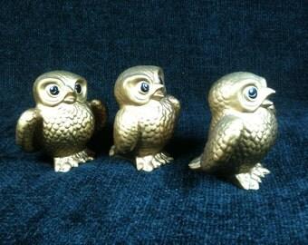 Vintage Owl Figurines, Set Of 3, Norcrest, Hand Decorated, Made In Japan, 60s, Norcrest Owls, Norcrest Owl Set, Ceramic Owl Set, Golden Owls