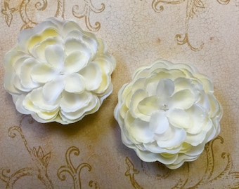 """3.5"""" Ivory-White Two tone Fabric Peony Flowers 2 pieces- Girls-Baby-Headband-Brooch-Applique-Wedding-Clippie"""