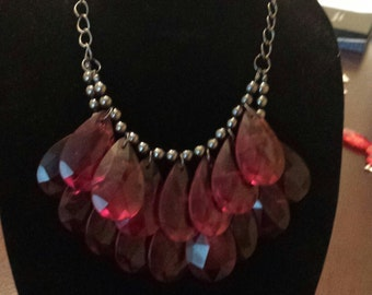 Red Chandelier Necklace, Vintage Style