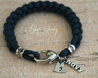 Navy Paracord Bracelet  - Navy Mom - Navy Wife - Navy Girlfriend - Heart Initial hand stamped Womens Jewelry