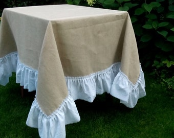 Burlap Table cloth with white cotton ruffles