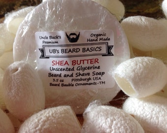 Shea Butter Unscented Glycerine Beard and Shave Soap with One Dozen Mulberry Silk Cocoons UB's Beard Basics 3.5 oz.