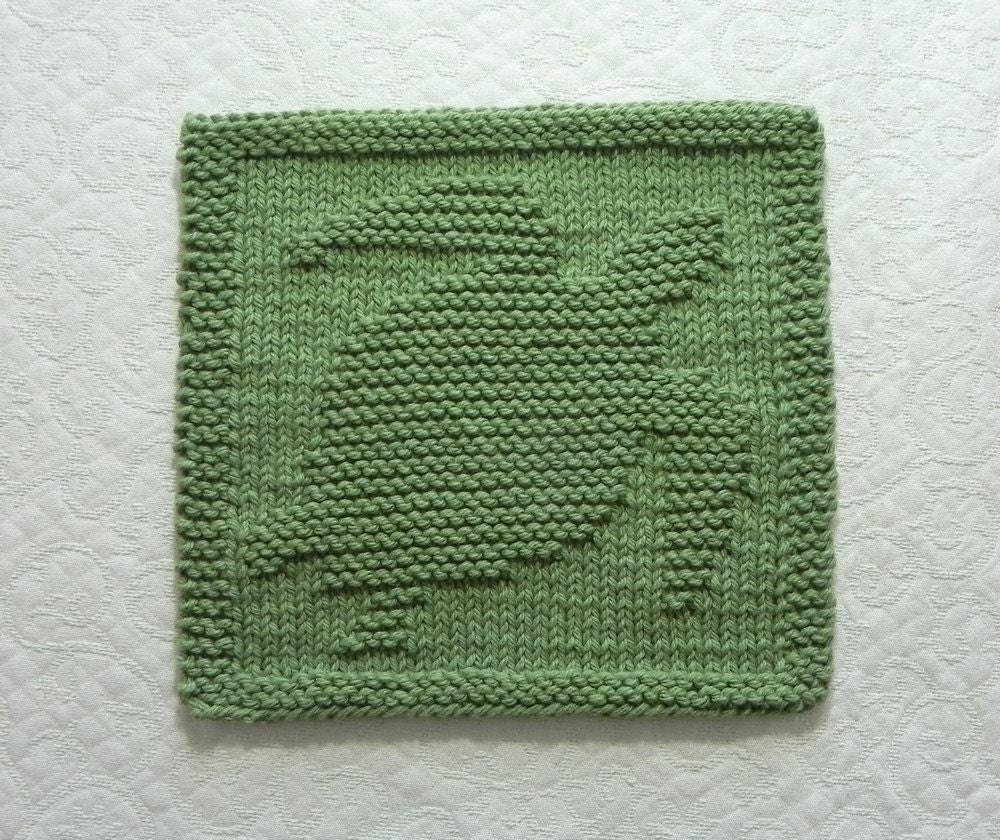 Trapper Hat Knitting Pattern : SEA TURTLE Knit Dishcloth or Wash Cloth Sage Green Hand