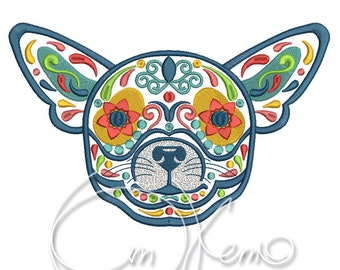 MACHINE EMBROIDERY DESIGN - Calavera Chihuahua dog, Dia de los muertos, Mexican design, Halloween design, calavera dog, Day of the dead