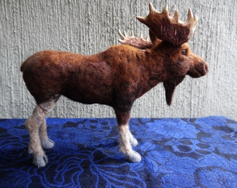 Needle Felted Wool Bull Moose by Carol Rossi