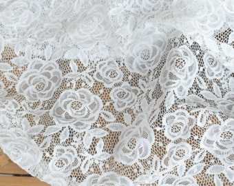 "Lace Fabric Rose White  Soft Lace Wedding Fabric 55"" width 1 yard"