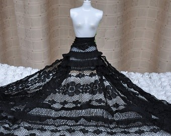 "Lace Fabric Black Cake Dress Flower Fabric Wedding Fabric 49.2"" width 1 yard"